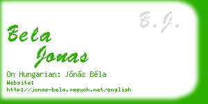 bela jonas business card